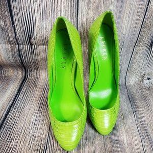 0ee843f3208 RARE Python Lime Green Ralph Lauren Pumps Sz 7.5